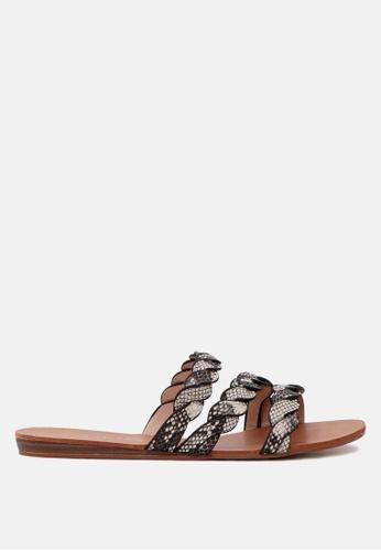 London Rag 褐色 编织滑带凉鞋 C13CFSHEC811C6GS_1