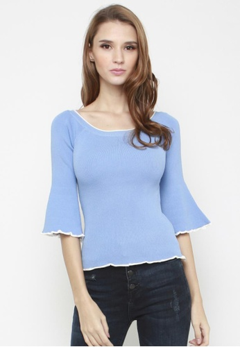 Sophialuv black Ring a Ding Bell Sleeve Knit Top in Sky Blue DF015AA2093E63GS_1
