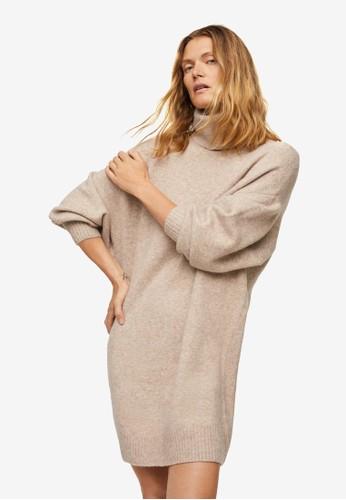 Mango beige Turtle Neck Knit Dress A5B4BAAA1F134FGS_1