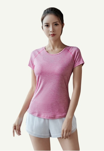 B-Code pink ZYG5162-Lady Quick Drying Running Fitness Yoga Sports Top and Shorts Two Pieces Set-Pink 835AAAA4518909GS_1