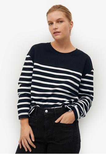 Violeta by MANGO black Plus Size Striped Combi Sweatshirt A0FC9AADAA2BE1GS_1
