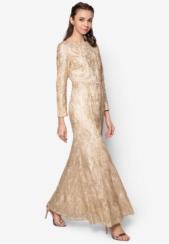 金屬感蕾絲魚尾長洋裝、 服飾、 服飾Zalia金屬感蕾絲魚尾長洋裝最新折價