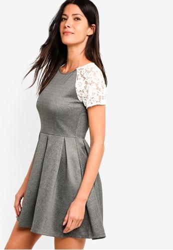 ZALORA grey Scuba Box Pleat Dress D017CAA9BBB5D7GS_1