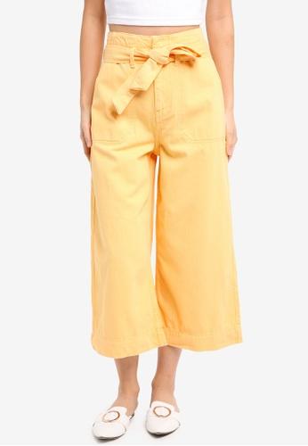TOPSHOP yellow Belted Awkward Wide Trouser 6D44BAA0D5AF17GS_1