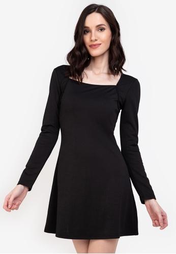 ZALORA BASICS black Square Neck Mini Dress B6A41AADE1ADCBGS_1