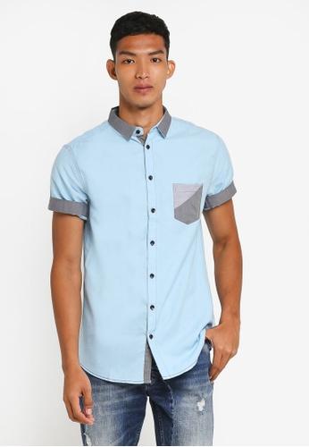 Fidelio 藍色 撞色短袖襯衫 BB408AA3578DFCGS_1
