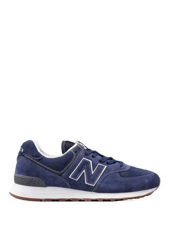 New Balance navy 574 Full Suede Essential Shoes ED67BSHE53C5B8GS_1