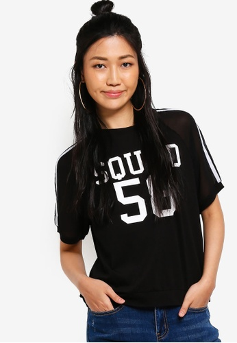 Something Borrowed black Squad Mix Material Tee A363EAA6AB8373GS_1