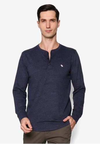 Abercrombie & Fitch navy Icon Henley Tee 40633AA955E180GS_1