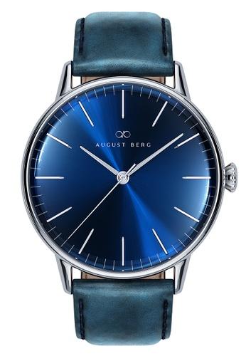 August Berg blue SERENITY DEEP BLUE Silver Classic Blue Leather 40mm E0EDEACB438B83GS_1