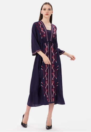 MKY Clothing navy MKY Red White Embroidery V-Neck Dress in Navy 28CA1AA21CFB29GS_1