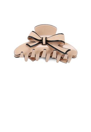 Glamorousky silver Fashion and Elegant Black Border Ribbon Pink Large Hair Claw C5EC4ACD6F3171GS_1