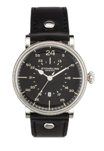 Stuhrling Original black Men's Quartz Date Watch Silver Case Black Dial Watch ST251AC0RFJ5MY_1