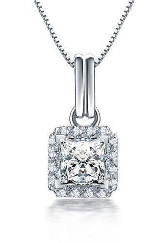 LYCKA silver LFF1242-LYCKA-S925 Silver White Zircon Trendy Necklace -Silver LY529AC0HACQSG_1