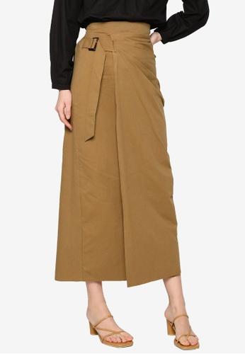 ZALIA BASICS brown Front Wrap Skirt 4A46DAAB134544GS_1