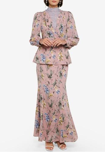 Zalia pink Pleated Peplum Kurung Set 0D8A5AA6E7676EGS_1