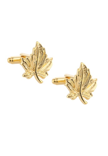 Kings Collection gold Gold Maple Leaf Cufflinks (KC20317) 38290AC3FEE325GS_1