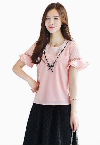 Halo pink Flared Sleeves Chiffon Tops HA405AA0F1YRSG_1