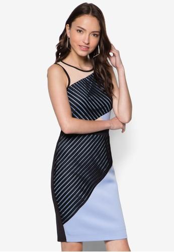 撞色拼接蕾絲連身裙, 服飾, esprit outlet 家樂福服飾