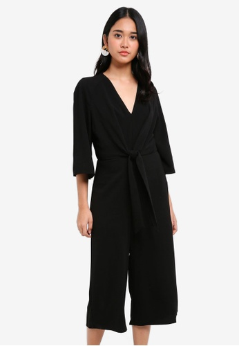 Miss Selfridge black Black Knot Front Jumpsuit C0557AA9FCA40EGS_1