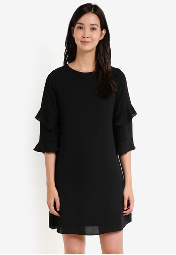 Dorothy Perkins black Black Ruffle Sleeve Shift Dress DO816AA0RCHEMY_1