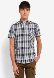 Timberland blue and navy Short Sleeve Still River Plaid Shirt with Coolmax TI063AA0SB8DMY_1