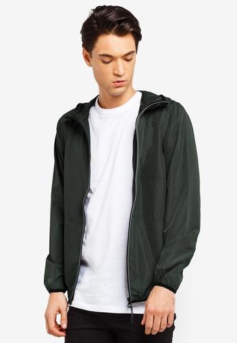 Brave Soul 綠色 撞色滾邊風衣連帽外套 85081AAE127553GS_1