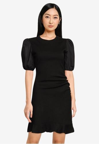 Forever New black Cora Puff Sleeve Rib Mini Dress BF754AA0DA61A9GS_1