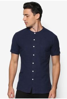 Brushed Cotton Collarless Short Sleeve Shirt
