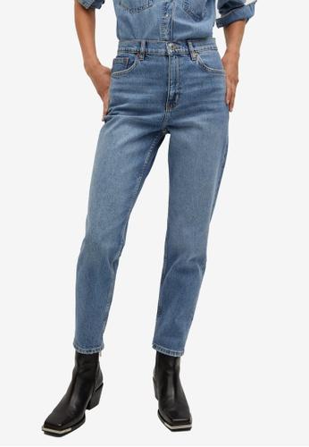 Mango 藍色 Mom-Fit Jeans DF9E5AAE61057CGS_1