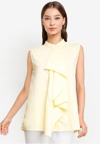 ZALORA WORK yellow Draped Shirt B23C9AADEB57E0GS_1