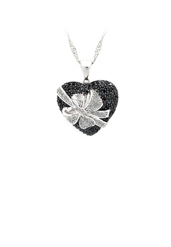 Glamorousky silver 925 Sterling Silver Heart-shaped Pendant with Black and White Cubic Zircon and Necklace 35453AC5702511GS_1