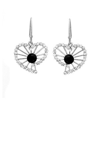 Glamorousky black Trendy Heart Earrings with Silver and Black Austrian Element Crystals E0582AC7A94FAAGS_1