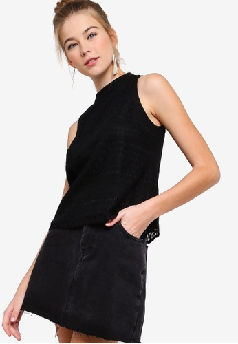 Something Borrowed black Sleeveless Cut In Lace Top 46AE0AA2056112GS_1