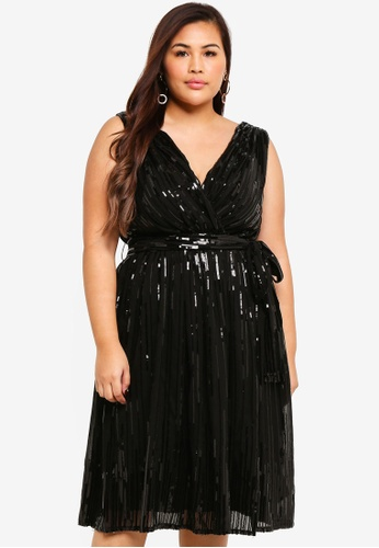 ee797221fc6 Plus Size Sequined Chiffon Skater Dress With Belt