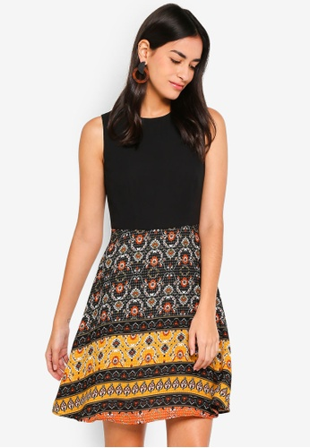 ZALORA black and multi Printed Fit & Flare Dress 83248AA463AADFGS_1