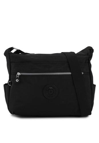Bagstationz black Mds Crinkled Nylon Fabric Sling Bag 5B430AC9A4EB10GS_1