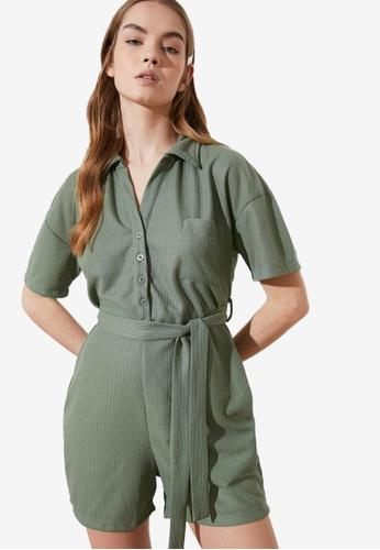 Trendyol green Belted Jumpsuit 50C93AA7AA4656GS_1