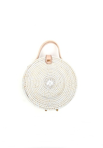 Buy ASHLEY SUMMER CO Round Basket Handbag (White) Online on ZALORA Singapore