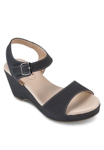 針扣繞踝帶楔型zalora鞋鞋, 女鞋, 鞋