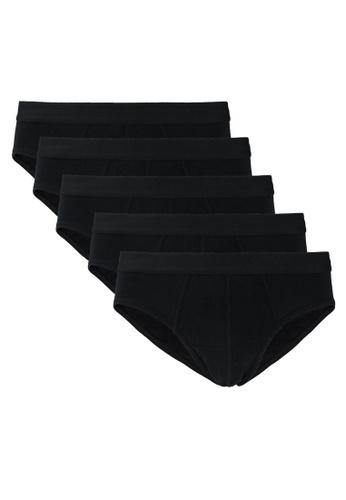 OVS black 5-Pack Plain Briefs 52AAAUS5F89776GS_1