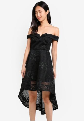 River Island black Bardot Waisted Dress RI009AA0SF6RMY_1