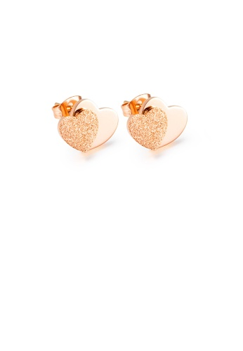 Glamorousky silver Simple and Exquisite Plated Rose Gold Frosted Double Heart-shaped 316L Stainless Steel Stud Earrings 91247AC347A6D0GS_1