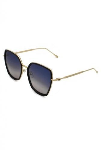 jojo black Elegant Full Metal Temple Pillow Polarized Sunglasses 114C7GL1B1648BGS_1