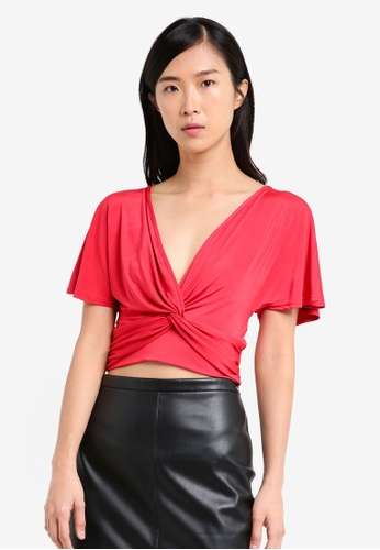 Miss Selfridge red Angel Sleeve Wrap Cropped Top MI665AA0SS6MMY_1