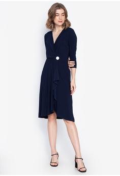 1a8241473 DEBENHAMS blue Principles - Button Detail Waterfall Knee Length Dress  8F70FAAD8930B4GS_1