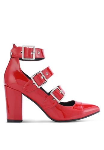 ZALORA 紅色 尖頭繞踝粗跟鞋 E7BD7SH978277FGS_1