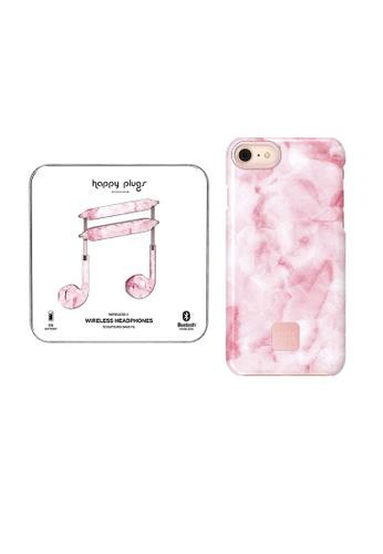 "happy plugs pink Happy Plugs Wireless II  - Pink Marble + Happy Plugs Slim Case for iPhone 8 Plus / iPhone 7 Plus (5.5"") - Pink Marble 33A6EACBF5865EGS_1"