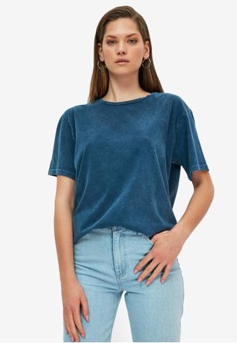 Trendyol blue Vintage T-Shirt 11B24AA48C90FAGS_1