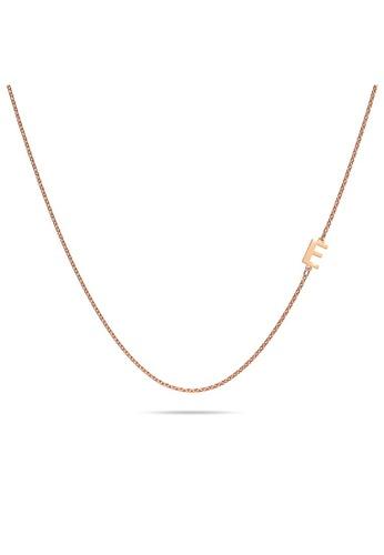 Bullion Gold gold BULLION GOLD Bold Alphabet Letter Initial Charm Necklace in Rose Gold Tone - E 60FE1AC02852BDGS_1